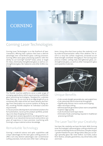 Corning Laser Technologies Overview